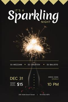 New Year Party Invitation with Burning Sparklers
