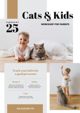 Workshop Announcement with Child Playing with Cat