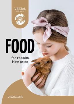 Pet Food Offer Girl Hugging Bunny