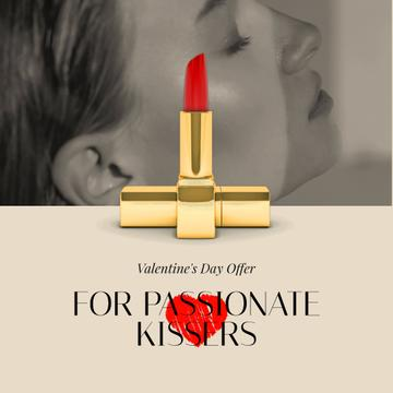 Valentine's Day Offer Woman with Red Lipstick
