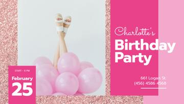 Birthday Party Invitation Girl with Pink Balloons