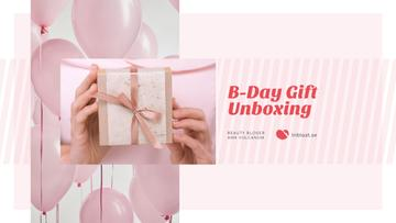 Birthday Greeting Gift and Pink Balloons