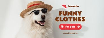 Pet Shop Offer with Funny Dog in Hat and Sunglasses