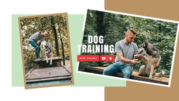 Dog Training Guide Man with Husky