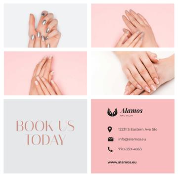 Manicure Salon Ad Female Hands with Shiny Nails