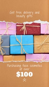 Cosmetics Shop Offer Wrapped Gifts