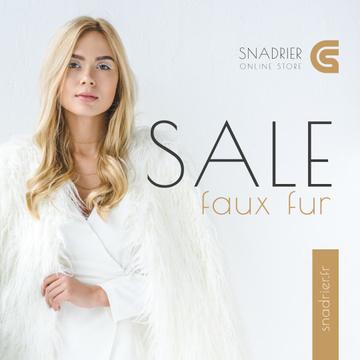 Fashion Sale Woman in Faux Fur Coat