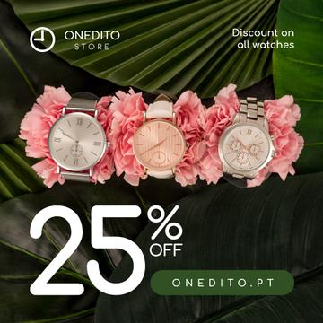Accessories Store Sale Watches on Flowers