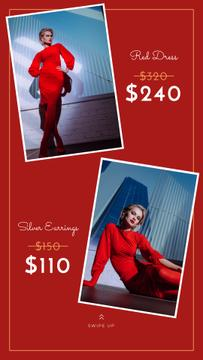 Fashion Store Ad Woman in Red Dress