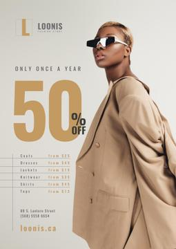 Fashion Store Sale with Woman in Sunglasses