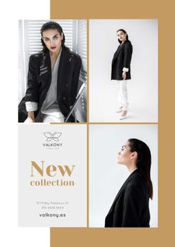 Female Clothes Ad with Woman in Monochrome Outfit