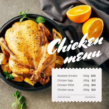 Restaurant Menu Offer Whole Roasted Chicken