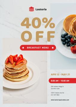 Cafe Menu Offer with Stack of Pancakes with Strawberries