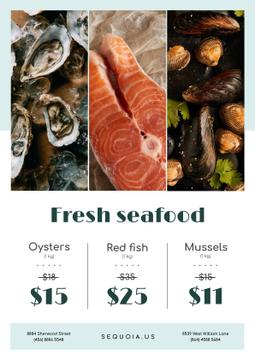 Seafood Offer with Fresh Salmon and Mollusks