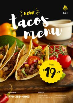 Mexican Menu Offer with Delicious Tacos