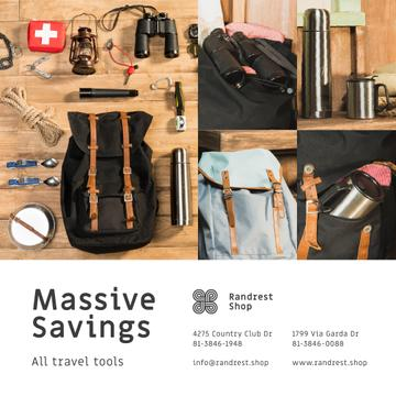 Travel Tools Shop Sale Camping Kit and Backpack