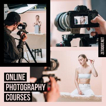 Photography Courses Ad Photographer and Woman in Studio