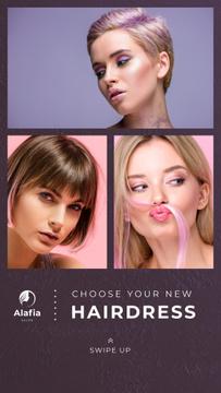 Hair Salon Ad Women with Dyed Hair