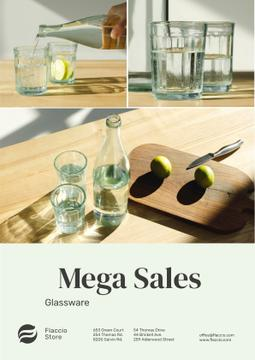 Kitchenware Sale with Jar and Glasses with Water