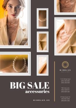 Jewelry Sale with Woman in Golden Accessories