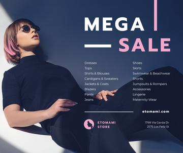 Fashion Sale Woman in Sunglasses and Black Outfit