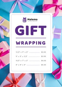 Gift Wrapping Service Ad with Boxes with Bows