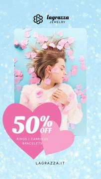 Jewelry Sale Woman in Pink Hearts