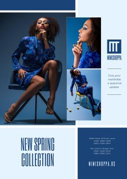 Fashion Collection Ad with Stylish Woman in Blue