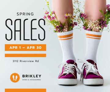Spring Footwear Sale Woman with Flowers in Gumshoes