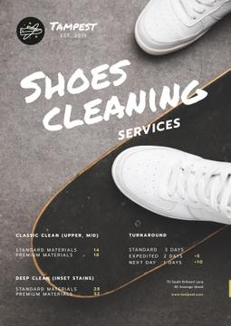 Shoes Cleaning Services Ad with Sportsman on Skateboard