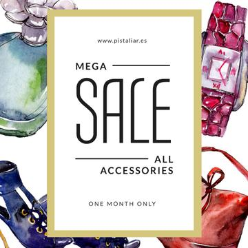 Accessories Sale Fashion Look Watercolor Illustration
