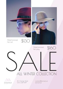 Seasonal Sale with Woman Wearing Stylish Hat