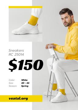 Sneakers Offer with Sportive Man in White Shoes