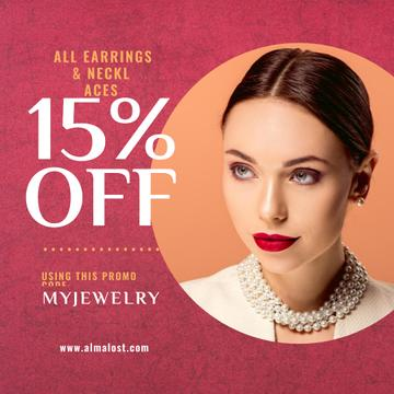 Jewelry Sale Announcement Woman in Pearl Necklace