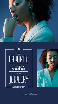 Jewelry Quote Woman in Stylish Earrings in Blue