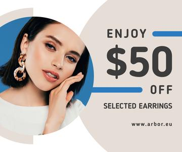 Jewelry Offer Woman in Stylish Earrings