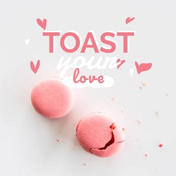 Valentine's Day Card with Pink Macarons