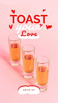 Love Quote Glasses with Drinks