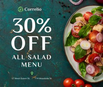 Salad menu offer with fresh vegetables