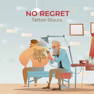 Old Man making Tiger Tattoo