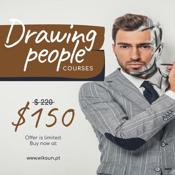 Man in headphones drawing on laptop