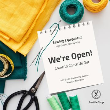 Sewing Equipment Ad with threads and fabrics