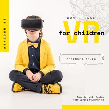 Boy in VR glasses in Yellow clothes