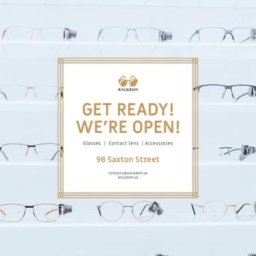 Optics Promotion Glasses in Rows on Blue