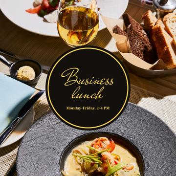 Business lunch Ad with cream soup in plate