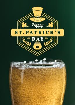 St.Patricks Day Greeting with Glass of Beer