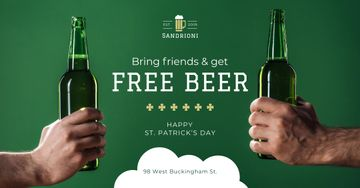 Special Offer on St.Patricks Day with friends holding Beer