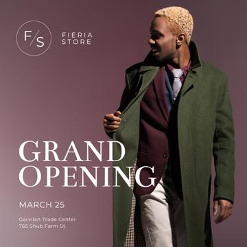 Shop Ad with African American Man in green coat