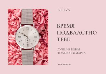 Women's Day Sale with Watch on Flowers