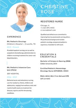 Registered Nurse skills and experience in Blue